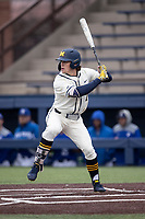 Michigan Wolverines outfielder Jesse Franklin (7) at bat against the Indiana State Sycamores on April 10, 2019 in the NCAA baseball game at Ray Fisher Stadium in Ann Arbor, Michigan. Michigan defeated Indiana State 6-4. (Andrew Woolley/Four Seam Images)