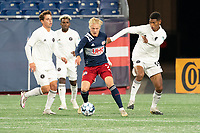 FOXBOROUGH, MA - OCTOBER 09: Connor Presley #7 of New England Revolution II passes the ball during a game between Fort Lauderdale CF and New England Revolution II at Gillette Stadium on October 09, 2020 in Foxborough, Massachusetts.