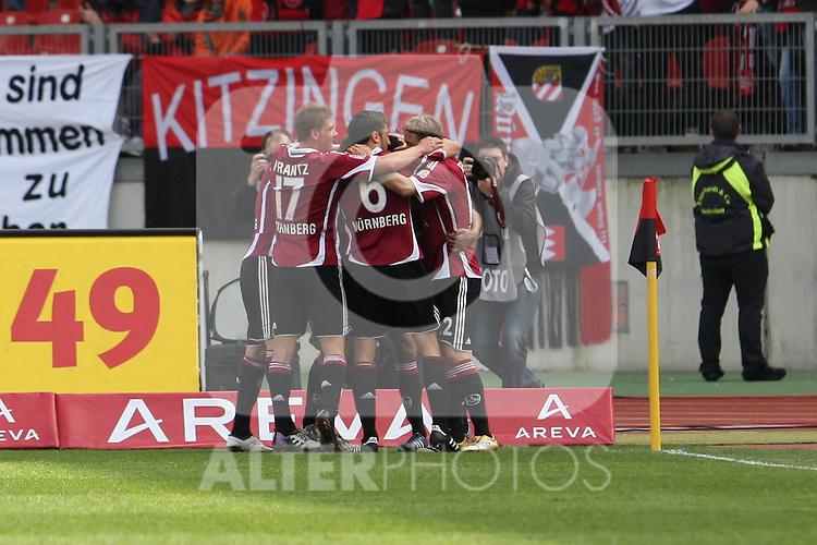 03.04.2010, EasyCredit Stadion, GER, Nuernberg, 1. FBL 09 10, 1. FC Nuernberg vs 1. FSV Mainz 05, im Bild Mike Frantz (FCN #17), Dominic Maroh (FCN #6) und Marcel Risse (FCN #12) jubeln mit Eric Maxim Choupo-Moting (FCN #14) ueber das 2:0 Foto © nph / Becher