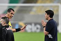 2nd June 2021; Maracana Stadium, Rio de Janeiro, Brazil; Copa do Brazil, Fluminense versus Red Bull Bragantino; Fluminense manager Maurício Barbieri is spoken to by referee Ricardo Marques Ribeiro