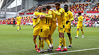 Barnsley players congratulate Conor Chaplin after scoring their opening goal during Brentford vs Barnsley, Sky Bet EFL Championship Football at the Brentford Community Stadium on 14th February 2021