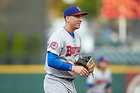 Buffalo Bisons third baseman Andy Burns (9) on defense against the Caballeros de Charlotte at BB&T BallPark on July 23, 2019 in Charlotte, North Carolina. The Bisons defeated the Caballeros 8-1. (Brian Westerholt/Four Seam Images)