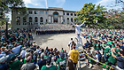 Sept. 26, 2015; The Notre Dame Marching Band performs on the steps of Bond Hall before the game against the University of Massachusetts. (Photo by Barbara Johnston/University of Notre Dame)