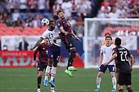 6th June 2021. Denver, Colorado, USA;  United States midfielder Kellyn Acosta challenges for a header with Mexico defender Hector Herrera during the CONCACAF Nations League finals between Mexico and the United States  at Empower Field at Mile High in Denver, CO.
