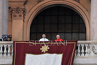 Pope Francis  waves to faithfuls at the , from the balcony of the Rome's Saint John Lateran basilica,  on April 7, 2013.