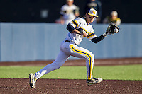 Michigan Wolverines third baseman Jake Bivens (18) fields a ground ball against the Central Michigan Chippewas on March 29, 2016 at Ray Fisher Stadium in Ann Arbor, Michigan. Michigan defeated Central Michigan 9-7. (Andrew Woolley/Four Seam Images)