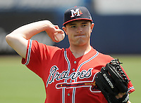 13 April 2008: Ryan Basner (47) of the Mississippi Braves, Class AA affiliate of the Atlanta Braves, in a game against the Mobile BayBears at Trustmark Park in Pearl, Miss. Photo by:  Tom Priddy/Four Seam Images