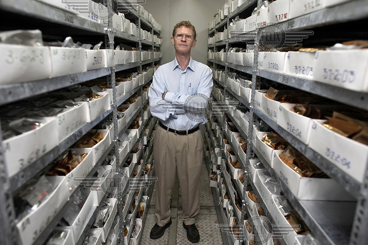Dr Cary Fowler, Executive Director of the Global Crop Diversity Trust, pictured in the Institute of Biodiversity Conservation (IBC) genebank, in Addis Ababa. The IBC gene bank is one of the biggest in Africa and holds some 60,000 accessions, stored at -10ºC.