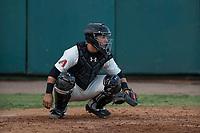 Visalia Rawhide catcher Daulton Varsho (9) between innings of a California League game against the Stockton Ports at Visalia Recreation Ballpark on May 8, 2018 in Visalia, California. Stockton defeated Visalia 6-2. (Zachary Lucy/Four Seam Images)