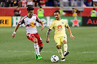 Harrison, NJ - Wednesday July 06, 2016: Tyler Adams, Osmar Mares during a friendly match between the New York Red Bulls and Club America at Red Bull Arena.