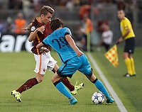 Calcio, Champions League, Gruppo E: Roma vs Barcellona. Roma, stadio Olimpico, 16 settembre 2015.<br /> FC Barcelona's Sergi Roberto, right, is challenged by Roma's Lucas Digne during a Champions League, Group E football match between Roma and FC Barcelona, at Rome's Olympic stadium, 16 September 2015.<br /> UPDATE IMAGES PRESS/Isabella Bonotto