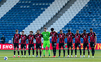 13th April 2021; The John Smiths Stadium, Huddersfield, Yorkshire, England; English Football League Championship Football, Huddersfield Town versus Bournemouth; Bournemouth team players observe a minute silence to honour the life of Price Philip, Duke of Edinburgh, who died in Windsor Castle  on 9th April 2021 Strictly Editorial Use Only. No use with unauthorized audio, video, data, fixture lists, club/league logos or 'live' services. Online in-match use limited to 120 images, no video emulation. No use in betting, games or single club/league/player publications