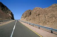 Dividing line on a highway to Dahab, Sinai Desert, Egypt.