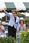 Billie Jean King waves to crowd  at  the 2015 Induction Ceremony at the International Tennis Hall of Fame, Newport, RI USA.  The ceremony took place on July 18, 2015