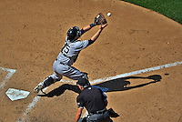 16 June 2012: New York Yankees catcher Russell Martin in action against the Washington Nationals at Nationals Park in Washington, DC. The Yankees defeated the Nationals in 14 innings by a score of 5-3, taking the second game of their 3-game series. Mandatory Credit: Ed Wolfstein Photo