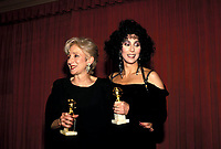 Olympia Dukakis And Cher  at the 45th Golden Globe Awards, honoring the best in film and television for 1987  on January 23, 1988 at the Beverly Hilton Hotel. Credit: Ralph Dominguez/MediaPunch