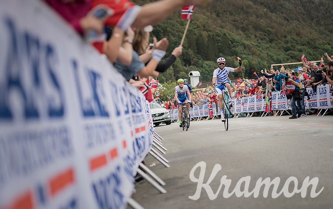 it's better to 'wheelie' up Salmon Hill (and have some fun), than to fade away in anonimity... is what Greek rider Charalampos Kastrantas (GRE) was probably thinking.<br /> <br /> Men Elite Road Race<br /> <br /> UCI 2017 Road World Championships - Bergen/Norway