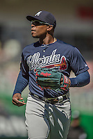 6 April 2014: Atlanta Braves left fielder Justin Upton returns to the dugout during game action against the Washington Nationals at Nationals Park in Washington, DC. The Nationals defeated the Braves 2-1 to salvage the last game of their 3-game series. Mandatory Credit: Ed Wolfstein Photo *** RAW (NEF) Image File Available ***