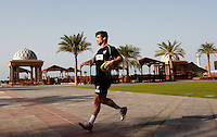 Photo: Richard Lane/Richard Lane Photography. London Wasps in Abu Dhabi for their LV= Cup game against Harlequins on 30th January 2011. 30/01/2011. Wasps' Dominic Waldouck carries out final preparations for the game during the walk though at the Emirates Palace Hotel.