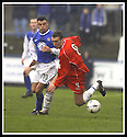 01/03/2003                   Copyright Pic : James Stewart.File Name : stewart-qots v falkirk 08.LEE MILLER GETS AWAY FROM DEREK LYLE......James Stewart Photo Agency, 19 Carronlea Drive, Falkirk. FK2 8DN      Vat Reg No. 607 6932 25.Office     : +44 (0)1324 570906     .Mobile  : +44 (0)7721 416997.Fax         :  +44 (0)1324 570906.E-mail  :  jim@jspa.co.uk.If you require further information then contact Jim Stewart on any of the numbers above.........