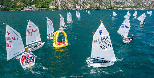 Lake Garda saw only one race completed today at the Optimist Worlds