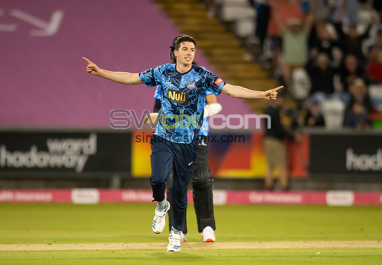 Picture by Allan McKenzie/SWpix.com - 24/08/2021 - Cricket - Vitality Blast Quarter Final - Yorkshire Vikings v Sussex Sharks - Emirates Durham ICG, Chester-le-Street, England - Viking's Matthew Fisher celebrates dismissing the Sharks's Delray Rawlins.
