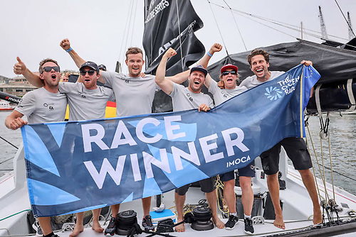 Offshore Team Germany celebrate their overall IMOCA 60 victory following the Genoa coastal race