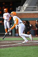 University of Tennessee Jake Rucker (7) runs to first base during a game against Western Illinois at Lindsey Nelson Stadium on February 15, 2020 in Knoxville, Tennessee. The Volunteers defeated Leathernecks 19-0. (Tony Farlow/Four Seam Images)