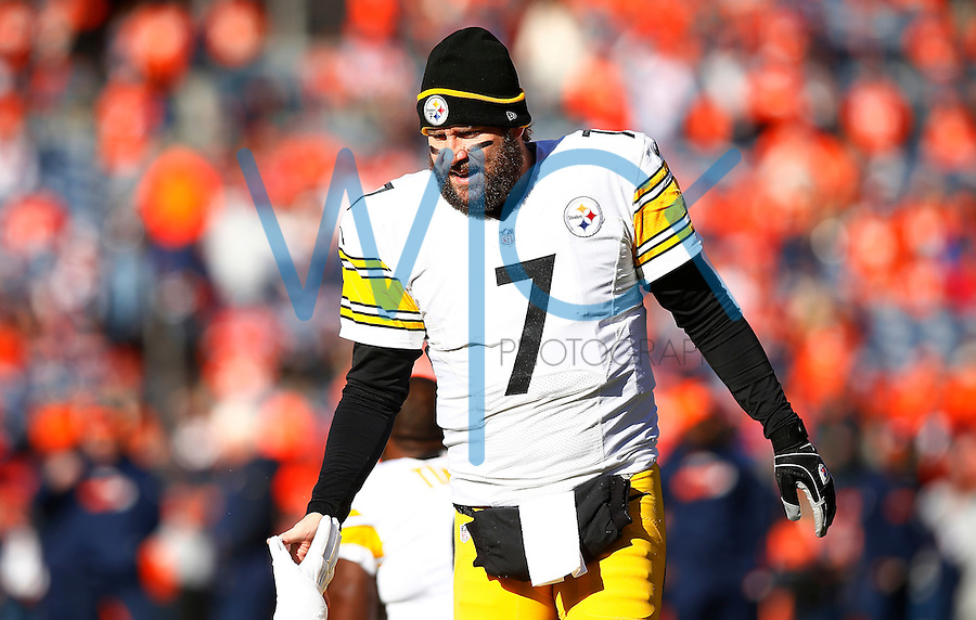 Ben Roethlisberger #7 of the Pittsburgh Steelers in action against the Denver Broncos during the AFC Divisional Round Playoff game at Sports Authority Field at Mile High on January 17, 2016 in Denver, Colorado. (Photo by Jared Wickerham/DKPittsburghSports)