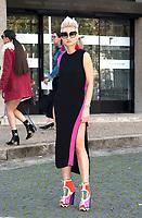 October 3 2017, PARIS FRANCE the Miu Miu<br /> Show at the Paris Fashion Week Spring Summer 2017/2018. Esther Quek arrives at the show.