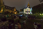 """August 31, 2018; ; The """"Under the Dome"""" projection video displayed on the Main Building before the Michigan game. (Photo by Barbara Johnston/University of Notre Dame)"""