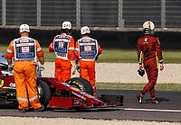 11th September 2020; Mugello race track, Scarperia e San Piero, Tuscany, Italy ; Formula 1 Grand Prix of Tuscany, Free practise;  Car of 5 Sebastian Vettel GER, Scuderia Ferrari Mission Winnow is loaded to a flatbed after engine trouble