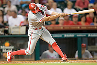 Philadelphia Phillies outfielder Hunter Pence #3 swings during the Major League Baseball game against the Houston Astros at Minute Maid Park in Houston, Texas on September 12, 2011. Houston defeated Philadelphia 5-1.  (Andrew Woolley/Four Seam Images)