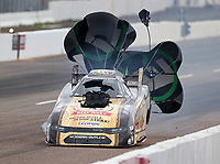 Feb 23, 2020; Chandler, Arizona, USA; View of the broken cracked windshield on the NHRA funny car of driver Jim Campbell after an engine explosion during the Arizona Nationals at Wild Horse Pass Motorsports Park. Mandatory Credit: Mark J. Rebilas-USA TODAY Sports