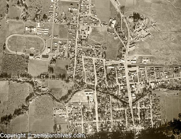 historical aerial photo map of Calistoga, Napa County, 1956