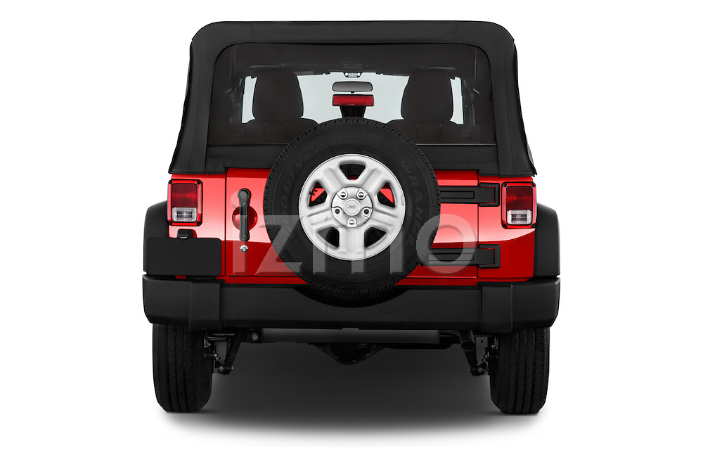 Straight rear view of a 2015 JEEP Wrangler Unlimited Sport 5 Door Sport Utility Vehicle Rear View  stock images