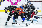 Justin Yiu (c) of Principal fights for the puck with Gaggia Empire's players Reece Tong (l) and Terence Chim (2nd from right) during the Principal Standard League match between Gaggia Empire vs Principal at the Mega Ice on 29 November 2016 in Hong Kong, China. Photo by Marcio Rodrigo Machado / Power Sport Images