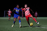 Malaki Toussaint of Romford and Luca Vega of Tilbury during Romford vs Tilbury, Pitching In Isthmian League North Division Football at Mayesbrook Park on 29th September 2021