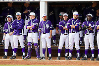 The High Point Panthers watch the action from the dugout during the game against the Center fielder at Willard Stadium on February 20, 2013 in High Point, North Carolina.  The 49ers defeated the Panthers 12-3.  (Brian Westerholt/Four Seam Images)