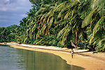Palm fringed beach, Ile St Marie, north east Madagascar.