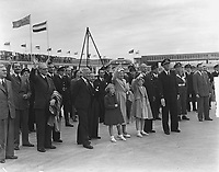 First KLM flight to Canada . Farewell to the Royal family, may 29 1949, Schiphol airport.<br /> <br /> PHOTO :  Noske, J.D. / Anefo