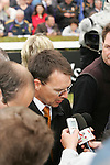 Horse Racing - Leopardstown Racecourse - Irish Champion Stakes.Aidan O'Brien who trianed the first four winners including the The Tattersalls Millions Irish Champion Stakes being interviewed at Leopardstown Racecourse in Dublin.