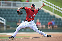 Kannapolis Intimidators relief pitcher Sam Long (28) in action against the Lexington Legends at Kannapolis Intimidators Stadium on May 15, 2019 in Kannapolis, North Carolina. The Legends defeated the Intimidators 4-2. (Brian Westerholt/Four Seam Images)