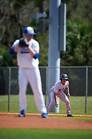 FIU Panthers right fielder Juan Teixeira (46) leads off during a game against the South Dakota State Jackrabbits on February 23, 2019 at North Charlotte Regional Park in Port Charlotte, Florida.  South Dakota defeated FIU 4-3.  (Mike Janes/Four Seam Images)