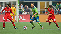 SEATTLE, WA - NOVEMBER 10: Seattle Sounders midfielder Cristian Roldan #7 controls the ball during a game between Toronto FC and Seattle Sounders FC at CenturyLink Field on November 10, 2019 in Seattle, Washington.