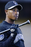 Jose Ortiz of the Colorado Rockies before a 2002 MLB season game against the Los Angeles Dodgers at Dodger Stadium, in Los Angeles, California. (Larry Goren/Four Seam Images)