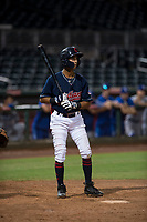 AZL Indians 2 shortstop Brayan Rocchio (24) at bat during an Arizona League game against the AZL Dodgers at Goodyear Ballpark on July 12, 2018 in Goodyear, Arizona. The AZL Indians 2 defeated the AZL Dodgers 2-1. (Zachary Lucy/Four Seam Images)