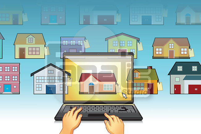 Illustration of hands using laptop with house model on screen representing online house hunting