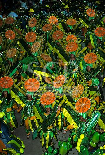 Rio de Janeiro, Brazil. Carnival: Imperatrice samba school with orange, cactus and banana fruit theme.