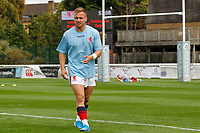 Charlie Gowling of London Scottish warms up during the Championship Cup match between London Scottish Football Club and Nottingham Rugby at Richmond Athletic Ground, Richmond, United Kingdom on 28 September 2019. Photo by Carlton Myrie / PRiME Media Images